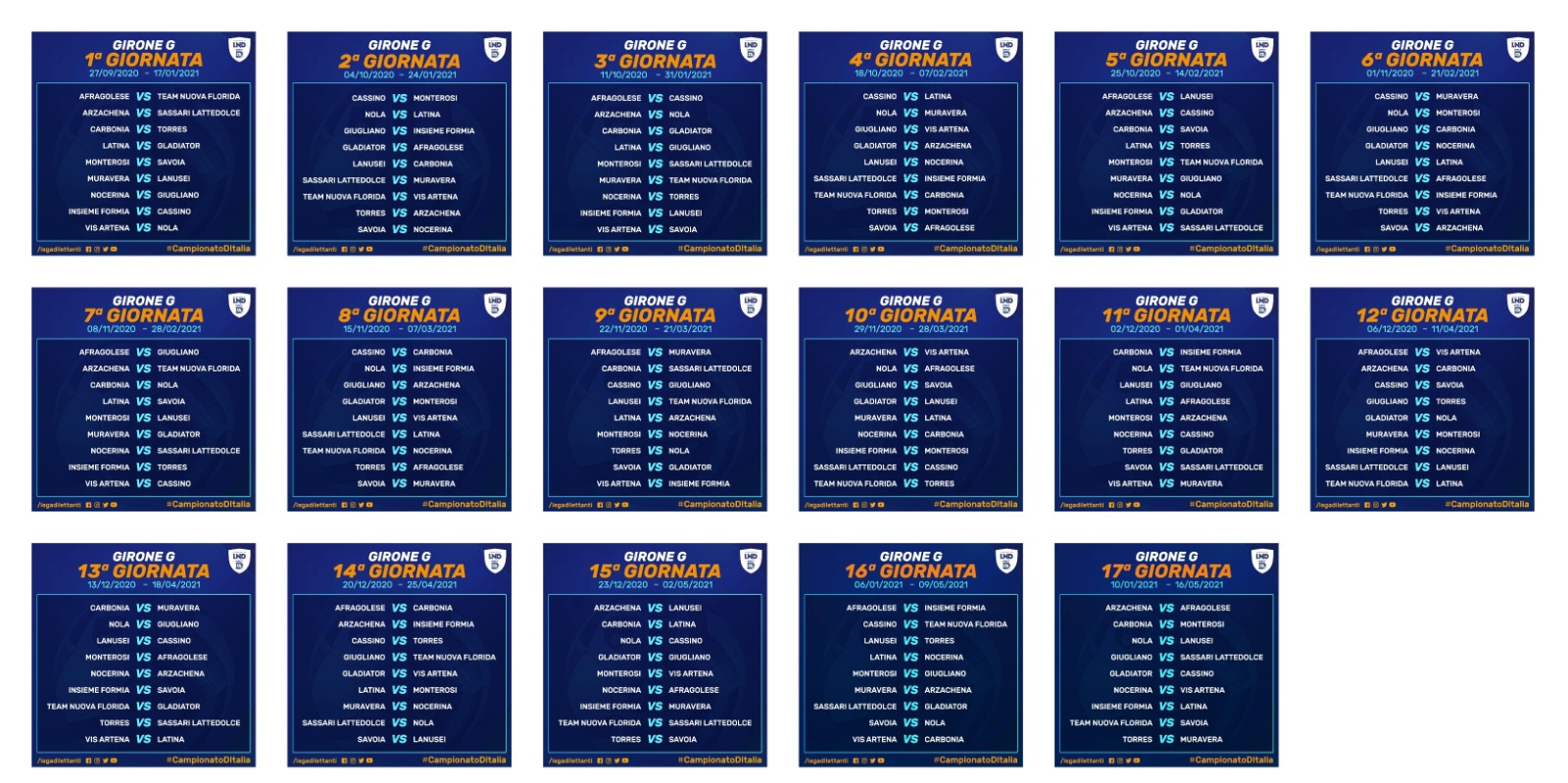 Calendario Serie D Girone G 2020 2021 Serie D Girone G: Il calendario completo del campionato » Tutto