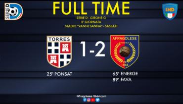 Serie D, Torres-Afragolese: 1-2. I rossoblù ritornano al successo meritatamente con Fava nel finale