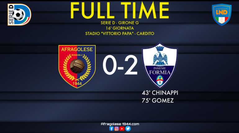 Serie D - Afragolese-Insieme Formia: 0-2. Sempre più notte fonda per i rossoblu