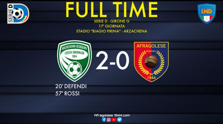Serie D - Arzachena-Afragolese: 2-0. L'emergenza non permette ai rossoblu di ripartire