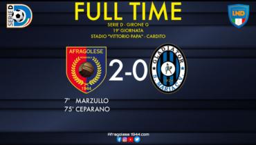 Serie D - Afragolese-Gladiator: 2-0. A denti stretti i rossoblù tornano al successo