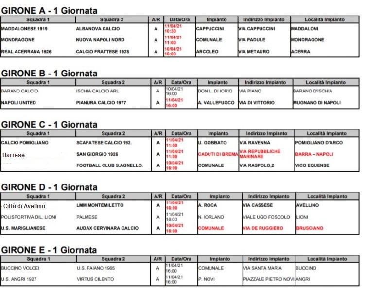 Eccellenza Campania Calendario